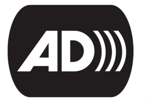 Audio Description logo: Black background, AD written on top with three white lines radiating from the D